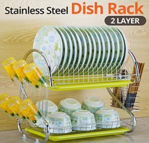 Kitchen Organizer 2 Layer Stainless Steel Tableware Dish Rack, W264
