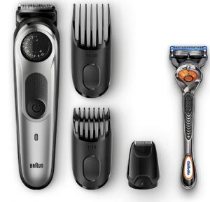 Braun BeardTrimmer BT5065 Beard Trimmer & Hair Clipper, Mini Foil Shaver Attachment, Black/Silver