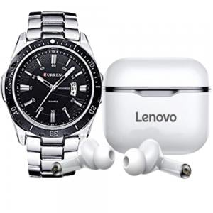 2 In 1 Curren Stainless Steel With Black Dial Mens Watch, M 8110 And Lenovo LP1 Live Pod Wireless Bluetooth Earphone