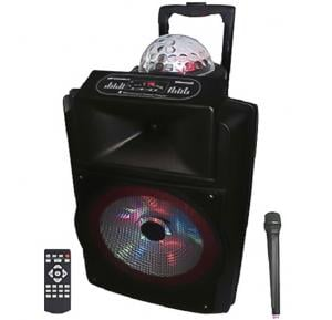 Olsenmark 12″ Bluetooth Rechargeable Trolley Speaker With Bell Stage Light On Lop And LED Lights On Woofer, OMMS1166