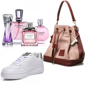 3 in 1 fashion combo, Ladies First Casual Shoes, White, Lamberto Rico Ladies Bag SKR-119-03-13, Flower of Story Perfume gift set Collection , 25ml x 4 Piece, PCP04