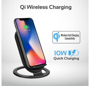 Promate Wireless Charger, High Quality 2 Coils Qi Wireless Charging Pad with Detachable Stand and Over-Charging Protection for iPhone X, 8, 8 Plus, Samsung Note 8, AuraDock-3
