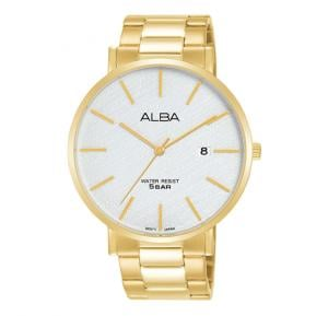 Alba Silver white pattern dial And Stainless steel side wrapped bracelet Analog Watch For Men AS9K08X1