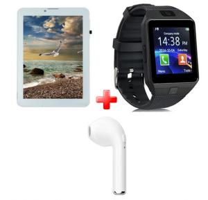 3 in 1 Limited time Offer, Atouch 7 inch 4G LTE Dual sim Tablet plus Bluetooth Smartwatch with Simslot and Camera, Akh001