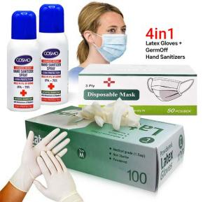4 in 1 Bundle Kit, Latex Gloves Medium With 2 Pcs Cosmo Hand Sanitizer Spray 100 ml and Disposable Face Mask 50 Piece