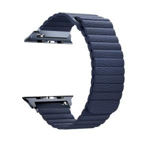 Promate Lavish-38 Magnetic Leather Apple Watch Band 38mm/40mm, Blue