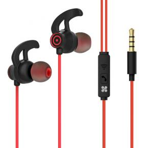 Promate In-Ear Premium 3.5mm HD Stereo Sound Earphones with Built-In Mic, Swift Red