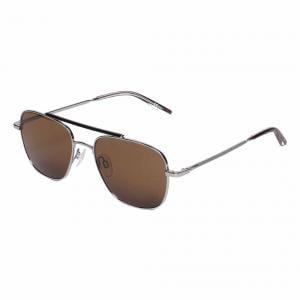 Calvin Klein CK21104S Silver Pilot Sunglasses For Men Brown Lens, Size 54,Uvprotected
