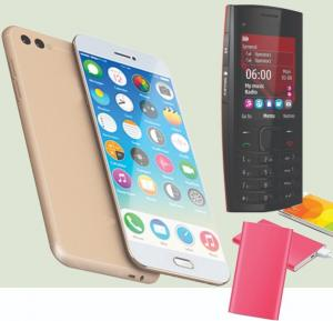 3 in 1 Bundle Gmango X1 4G Smartphone - Gold, ODSCN X2-02 Mobile - Black and Multi color 5000 mAh Ultra Slim Power Bank