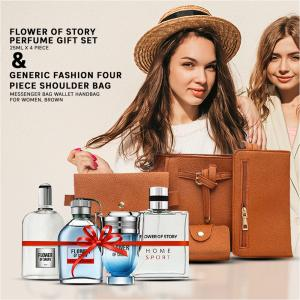2 In 1 Generic Fashion Four Piece Shoulder Bag Messenger Bag Wallet Handbag For Women, Brown And Flower of Story Perfume gift set, 25ml x 4 Piece, PCP01