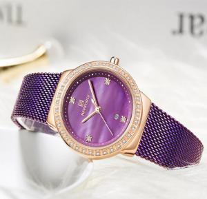 Naviforce Stainless Steel Waterproof Watch For Women, NF5005, Purple