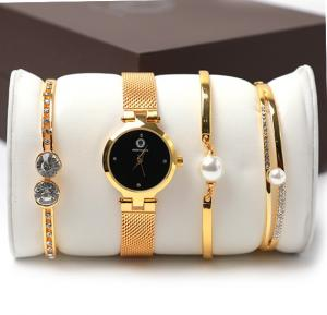 Ande Klevn fashion black dial watch & bracelets set box Gold