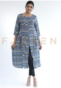 Ruky Fareen Long Top Full Sleeve Kurthees Cotton - RF 127 - M