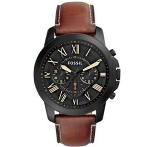 Fossil Grant Black Dial Leather Band Watch For Men - FS5241