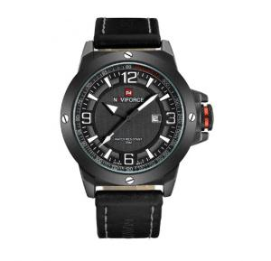 Naviforce 9077 Leather Strap  Watch for Men