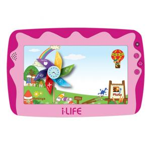 i-life Kids Tab 4, Android OS, 7.0 Inch HD Screen, 8GB Storage, Dual Camera, Quad-Core Processor- Pink, Free Case and Head Phone