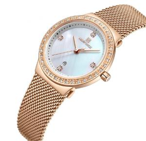Naviforce Stainless Steel Waterproof Watch For Women, NF5005, Gold