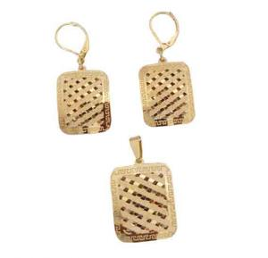 Elissa Jewelry 22K Gold Plated Ladies  Square Shape Earings Set ,EY081