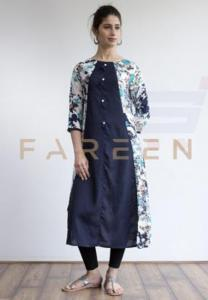 Ruky Fareen Long Top Full Sleeve Kurthees Cotton - RF 115 - S