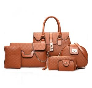 6 Pcs Women Hand Bag Set WB19-17 - Tan