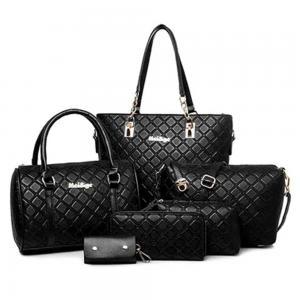 Generic 6 Piece Nylon Shoulder Bag Set, Black
