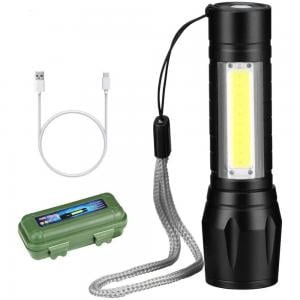 USB Charging Powerful Flashlight 3800LM XPE COB Zoomable Torch Lamp