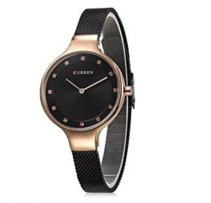 Curren Elegant CZ Stud Hour Marks Analog Fine Mesh Strap Watch for Women, 9008,Black