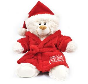 Caravaan Cream Bear size 38cm w/ Santa Hat and Velour Bathrobe with Merry Christmas embroidery  STT42X