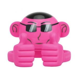 Promate Bluetooth Speaker, Portable Monkey Shape Multifunction Wireless Speaker with 3.5mm Audio Jack and Thumbs-up Adjustable Flexible Smartphone Holder for Tablets, Cell Phones, Ape Pink
