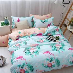 Double Size Bed Sheet Set of 6 Pieces, Flamingo Design, 200x230 cm