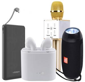 4 in 1 Music Bundle Wireless Blueteeth Stereo with  Bluetooth Headset, Karaoke Microphone and 12000mah  Power Bank