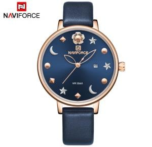 Naviforce NF5009 Moon Star Design Casual Style Women Wrist Watch Waterproof -Blue