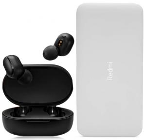 2 in 1 Combo Offer MI Xiaomi Redmi AirDots Wireless Earbuds And Redmi 10000 mAh Power Bank White