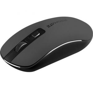 Promate Slim Wireless Mouse, 2.4Ghz High Precision Wireless Mouse with Nano Receiver, SUAVE.BLACK