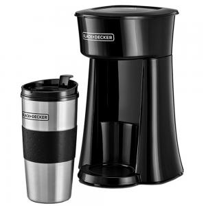 Black+Decker Coffee Maker with Travel Mug DCT10-B5, Black Silver