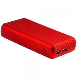 Promate 30000mAh Power Delivery Power Bank, USB-C™ Two Way Portable Charger with 18W Power Delivery, Titan-30 Red