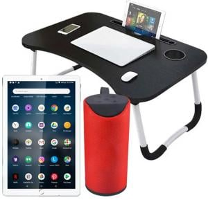 3 In 1 Combo Offer G-Touch G380 10.1 Inch 4G Dual Sim 4GB RAM 32GB Storage Tablet Pc Assorted + Laptop Table And TG113 Bass Splashproof Wireless Bluetooth Speaker