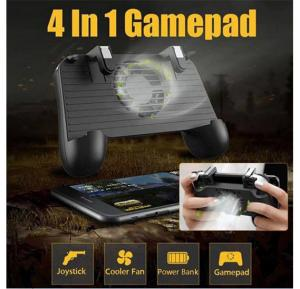 Mobile Game Controller 4-in-1 Upgrade Version Gamepad Shoot & Aim Trigger Phone Cooling Pad Power Bank For Android & Iphone