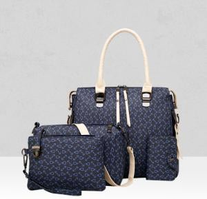 Four Pieces Printed PU Black Handbags Set