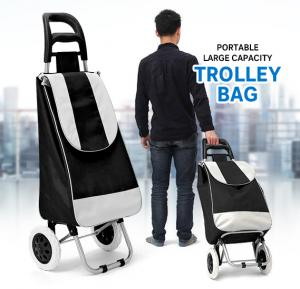 Sunny Portable Large Capacity Shopping Trolley Bag, Black & Grey, SUN001