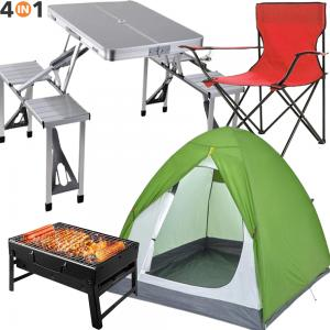 4 In 1 Outdoor Multifunctional Picnic Table,Camping Tent for 3 Person,Camping Chair,Charcoal Grill Barbecue Portable BBQ
