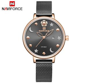 Naviforce NF5009 Moon Star Design Casual Style Women Wrist Watch Waterproof - Black