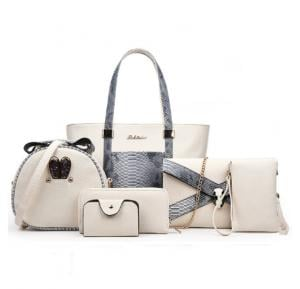 6 Pcs Women Hand Bag Set WB19-08 - Beige