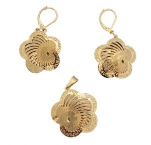 Elissa Jewelry 22K Gold Plated Ladies Rose Earrings Set-EY083
