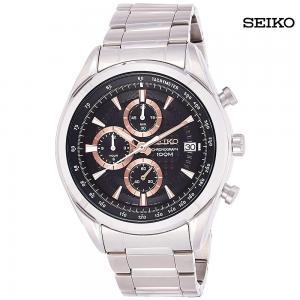 Seiko Men Chronograph Analog Black Dial Stainless Steel Watch, SSB199P1