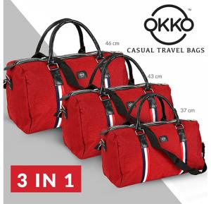 Set of 3 Pieces OKKO Casual Travel Bag, GH-203 - Red