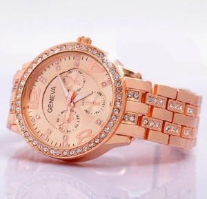 Generic Geneva Fashion Rhinestone Watch For Women Rose Gold