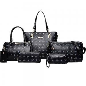 Womens 6 Pcs PU Leather Composite Luxury Print HandBag Set Black