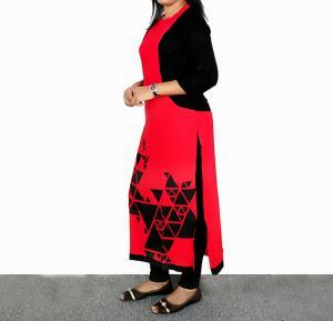 Ruky Fareen Long Top Full Sleeve Kurthees Cotton Red - RF 109 - M