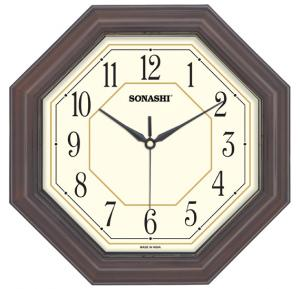 Sonashi Wall Clock 27.5cm-Dark Brown, SWC-803